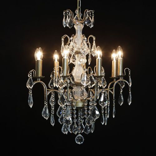 Antique French Cut Glass Gold Chandelier 8 arm